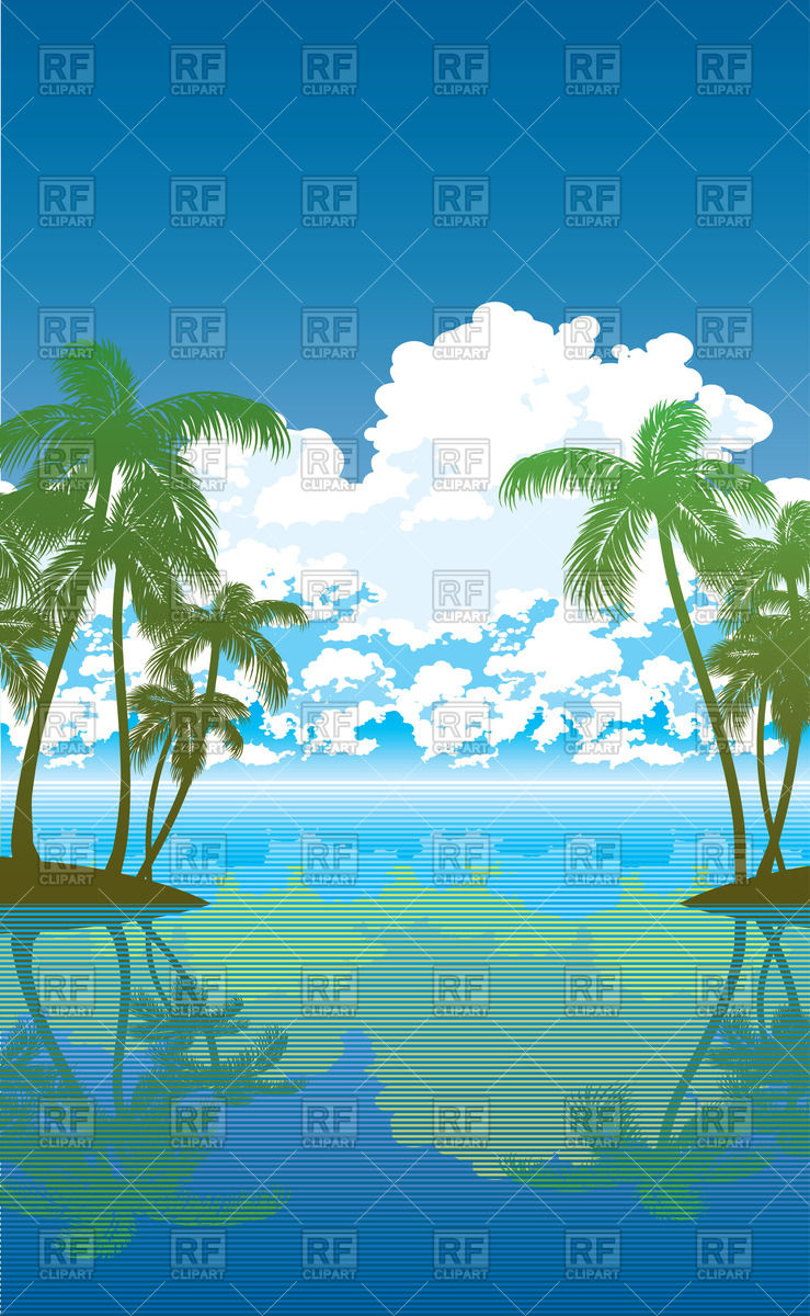 Travel background with palm trees, sea and clouds Vector Image.