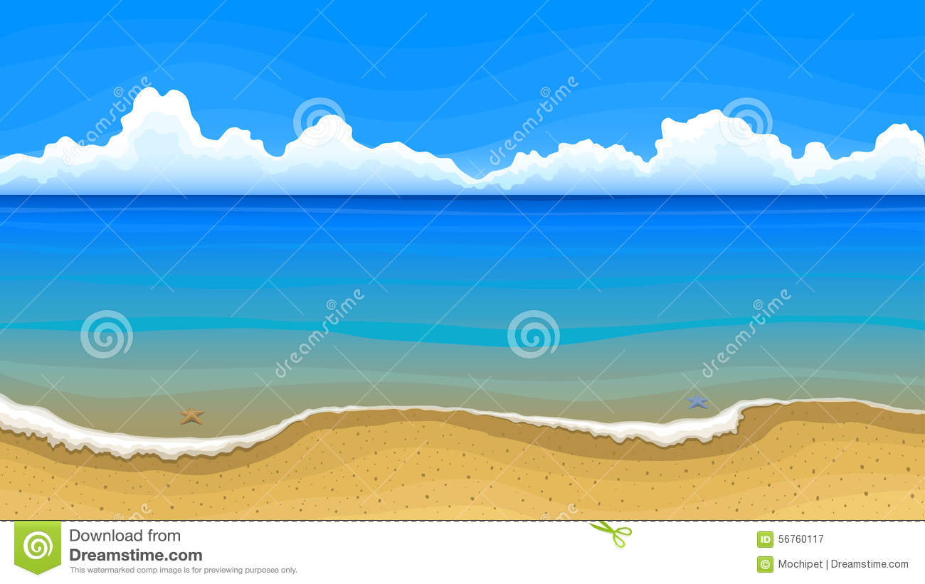 Sea Beach With Clouds On Horizon Stock Vector.