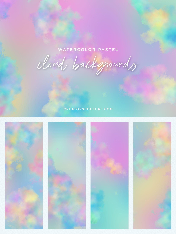 Pastel Watercolor Cloud Backgrounds Clipart.