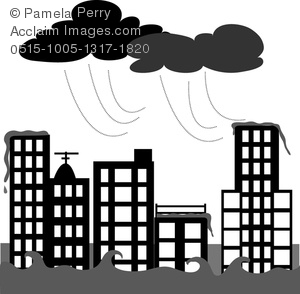 Clip Art Image of a City Being Flooded in a Rainstorm.