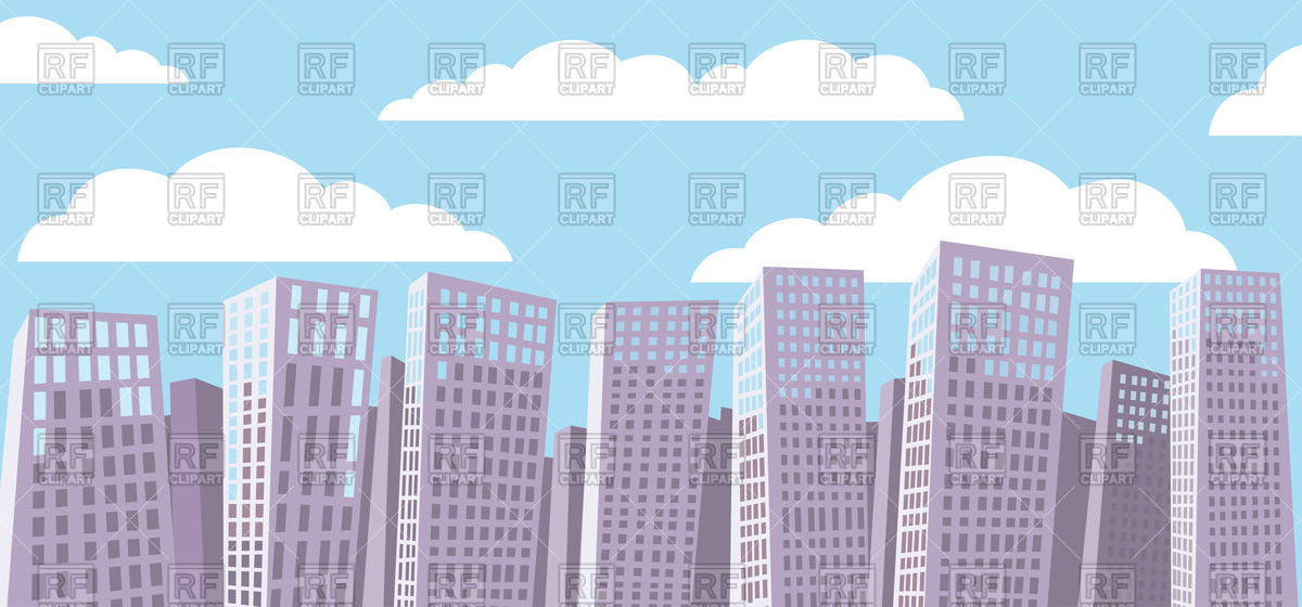 Cartoon cityscape background.