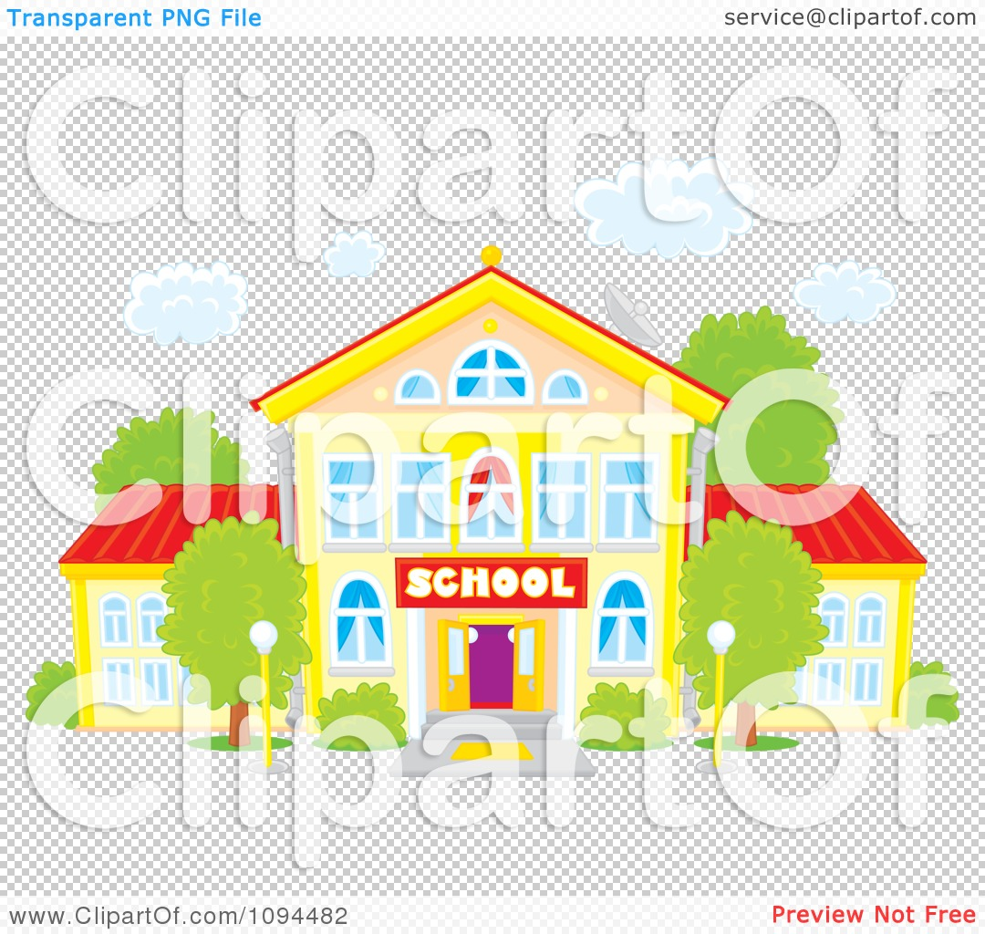 Clipart School Building Under Puffy White Clouds.