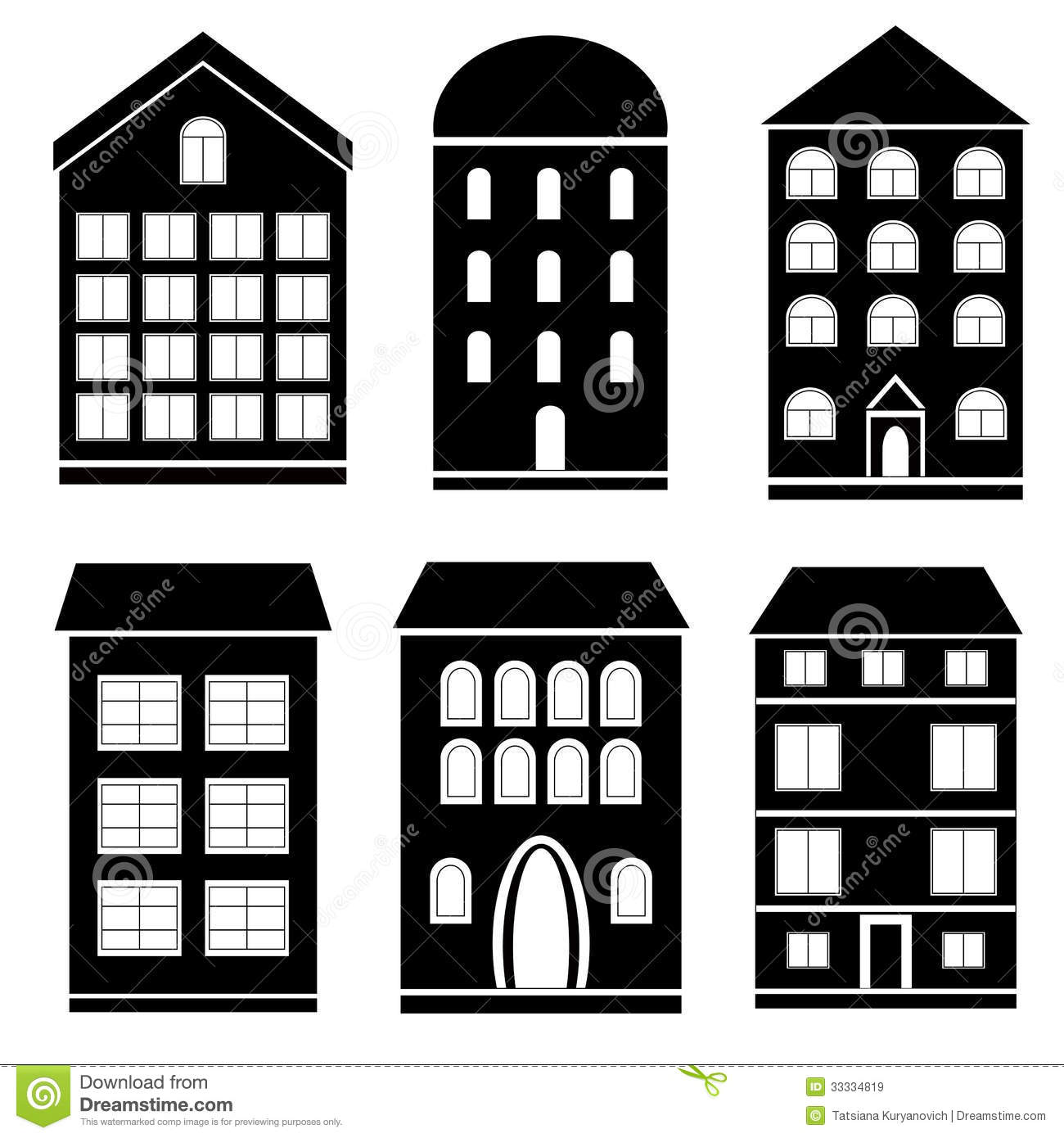 Apartment Building Clipart Black And White Building black and.