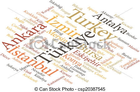 EPS Vector of cities of Turkey in word clouds.