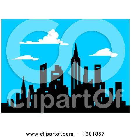Clipart of a Retro Cartoon City Street Scene from Above.