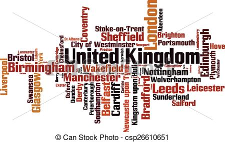 Clipart Vector of Cities in United Kingdom word cloud concept.