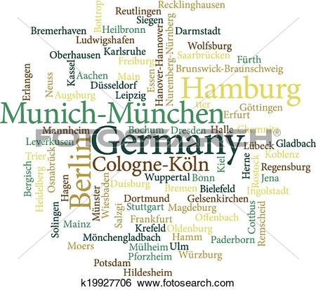 Clip Art of Illustration of the German Cities in word clouds.