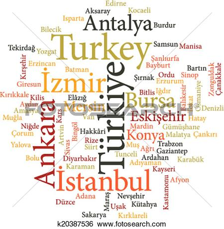 Clip Art of cities of Turkey in word clouds k20387536.