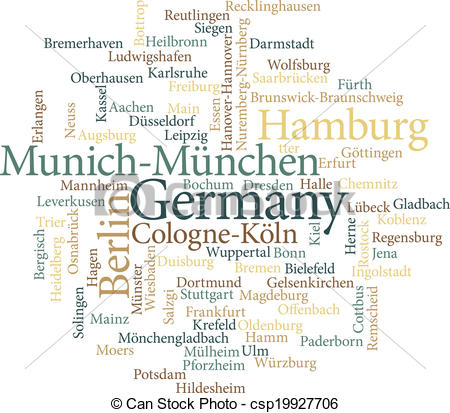 Vector Clipart of Illustration of the German Cities in word clouds.