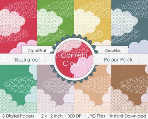 CUTE RAINBOW CLOUD Digital Paper Pack Sky Backgrounds Fluffy.