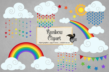 Rainbow Clipart, rainbow sun and clouds, weather clip art.
