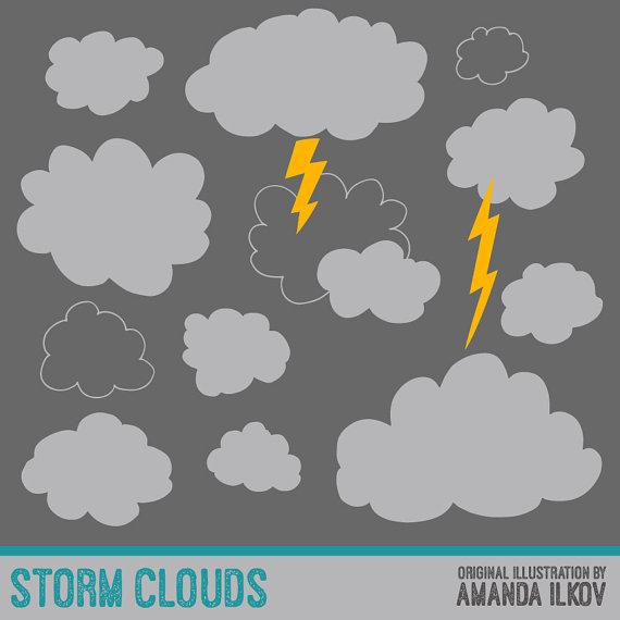 Premium Storm Clouds Clipart for Digital Scrapbooks by AmandaIlkov.
