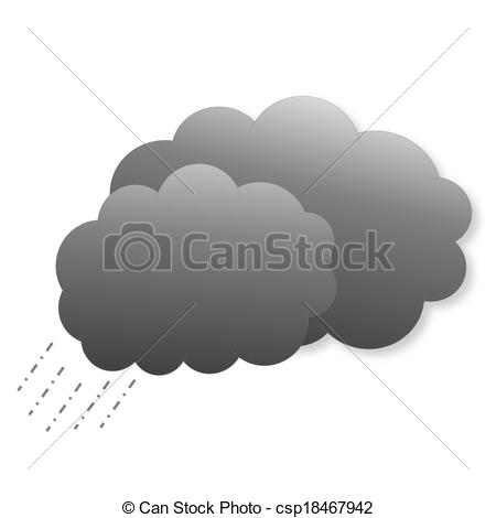 Drawing of Dark clouds with rain as weather icon.