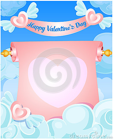 Scroll Banner In The Clouds Stock Illustration.