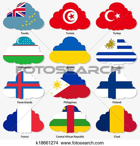 Clipart of Set Flags of world sovereign states in form clouds.