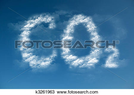 Stock Photo of Clouds form a CO2 symbol.