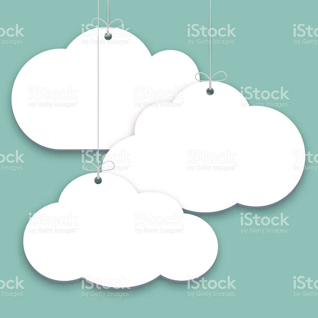 Paper Price Stickers On Green Background Shopping Clouds Form Tags.