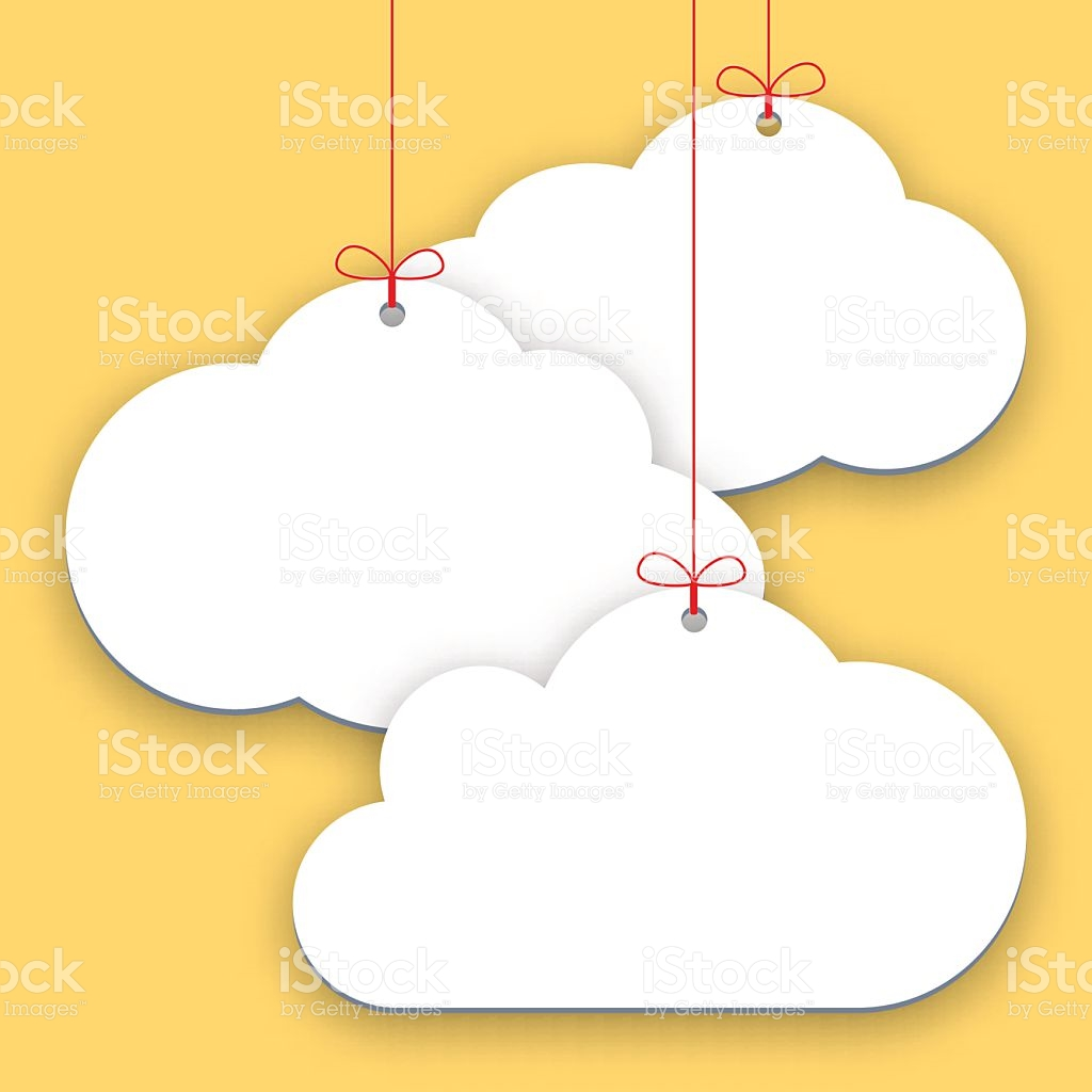 Paper Price Stickers On Yellow Background Shopping Clouds Form.