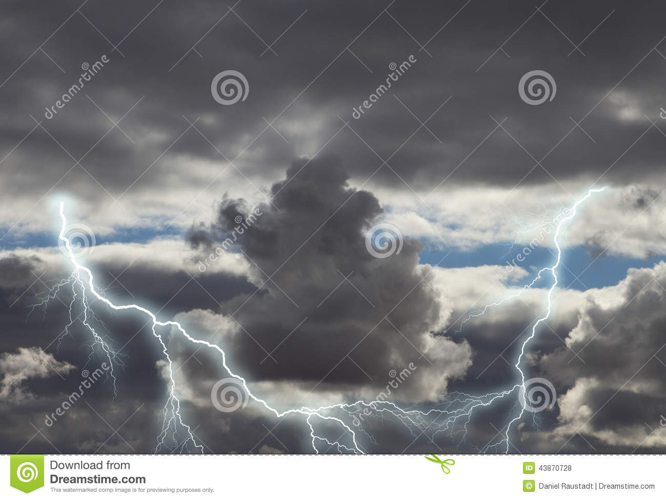Dark Storm Clouds With Lightning Stock Photo.