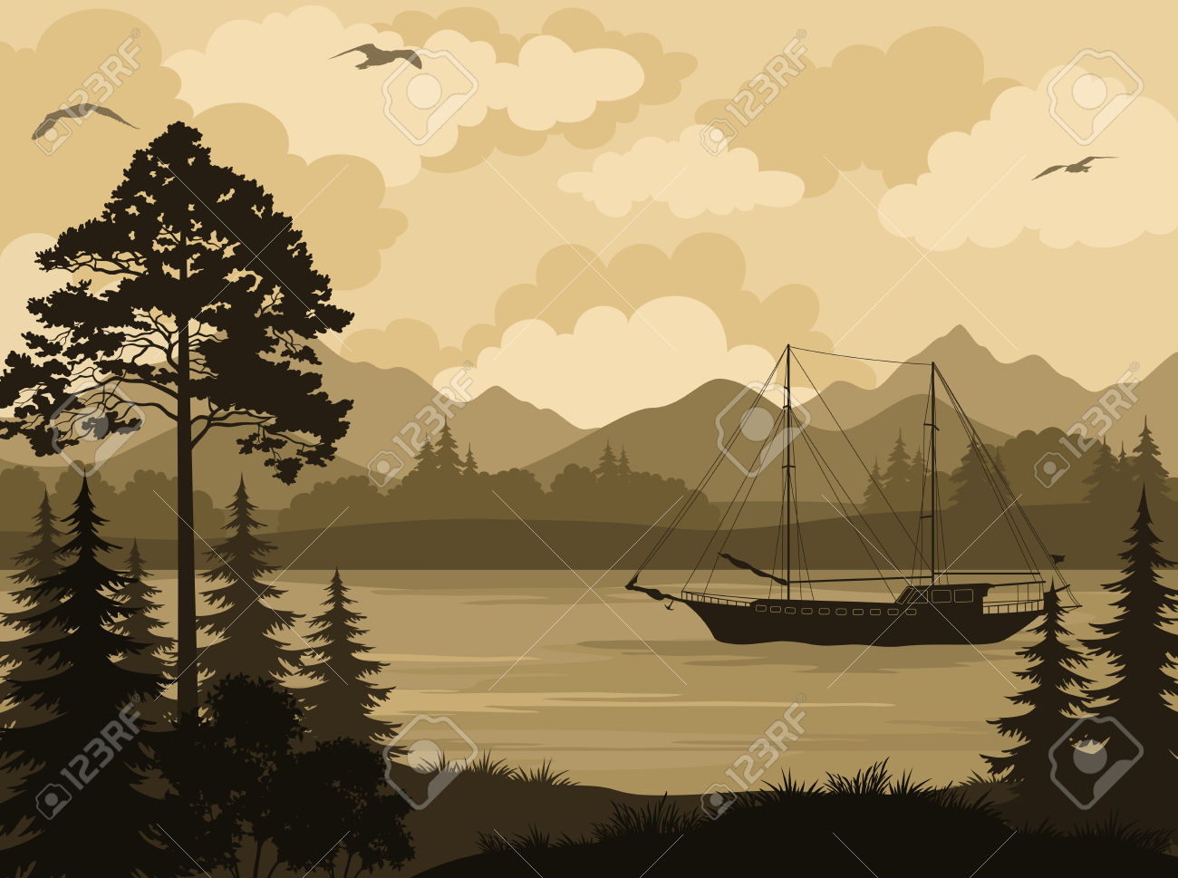 Mountain and lake and tree clipart.