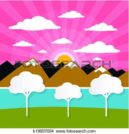 Clipart of Paper Vector Nature Background with Trees, River.