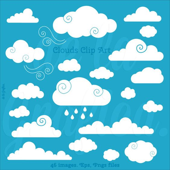 Clouds Clip art Clipart. Vector Clouds Clipart. by Delagrafica.