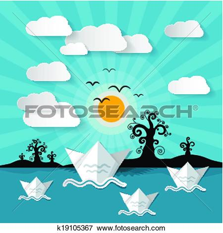 Clipart of Paper Vector Nature Background with Lake, Trees, Clouds.