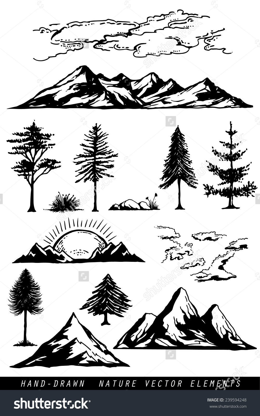 Hand Drawing Mountains Pines Clouds Plants Stock Vector 239594248.