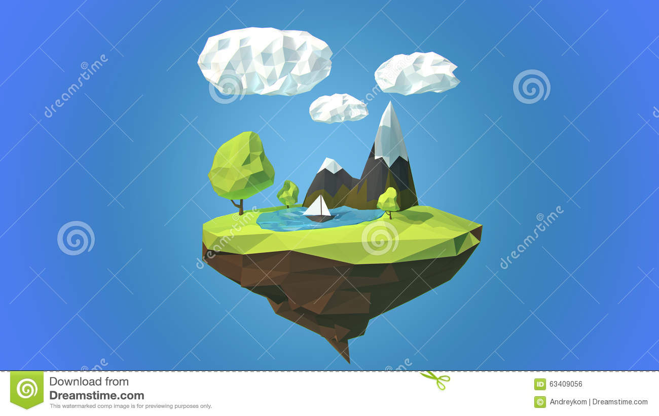 Floating Island With Mountain And Clouds In The Sky Stock.