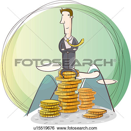 Stock Illustration of coin, businesssuit, clouds, mountain, office.