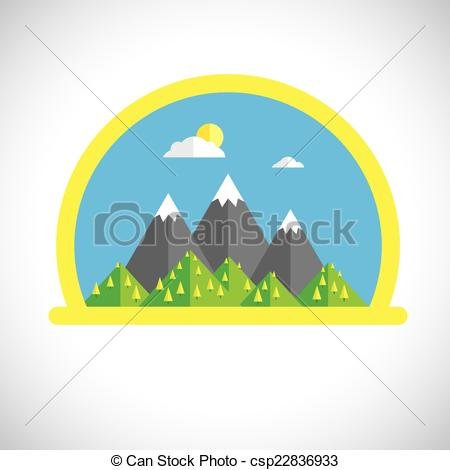 Vectors of Flat design nature landscape with sun, mountains.