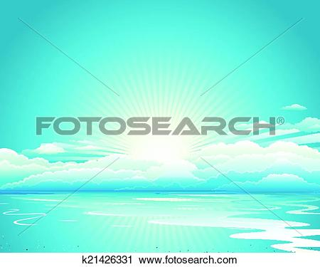 Clipart of Sunrise Blue Sky And Clouds k21426331.