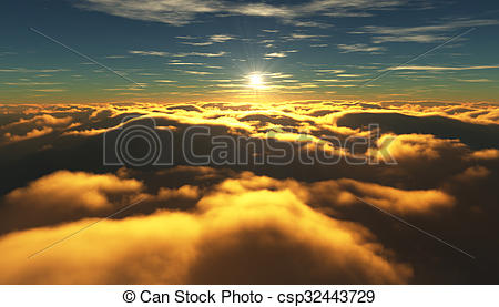 Clip Art of View of a cloudy sunrise while flying above the clouds.