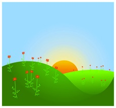 Sunrise sunny day with clouds clip art at clker vector clip art.