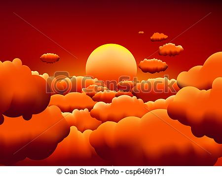Vector Clip Art of Golden sunset clouds background. EPS8. To see.