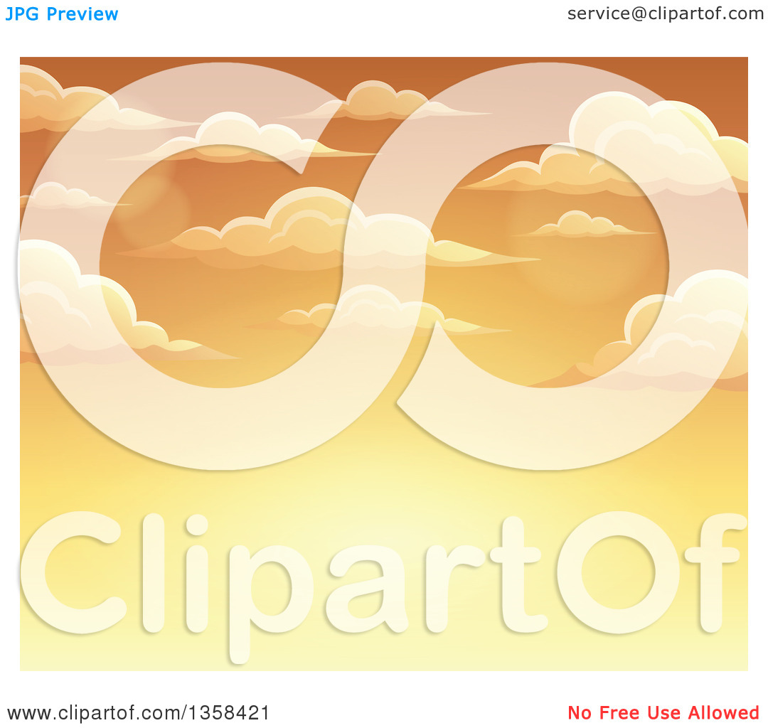 Clipart of a Background of a Golden Sunset Sky with Clouds.