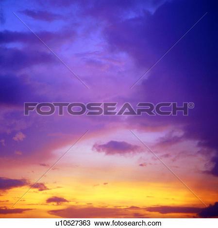 Stock Photo of dusk, sunrise, golden sky, clouds, sunset, sky.