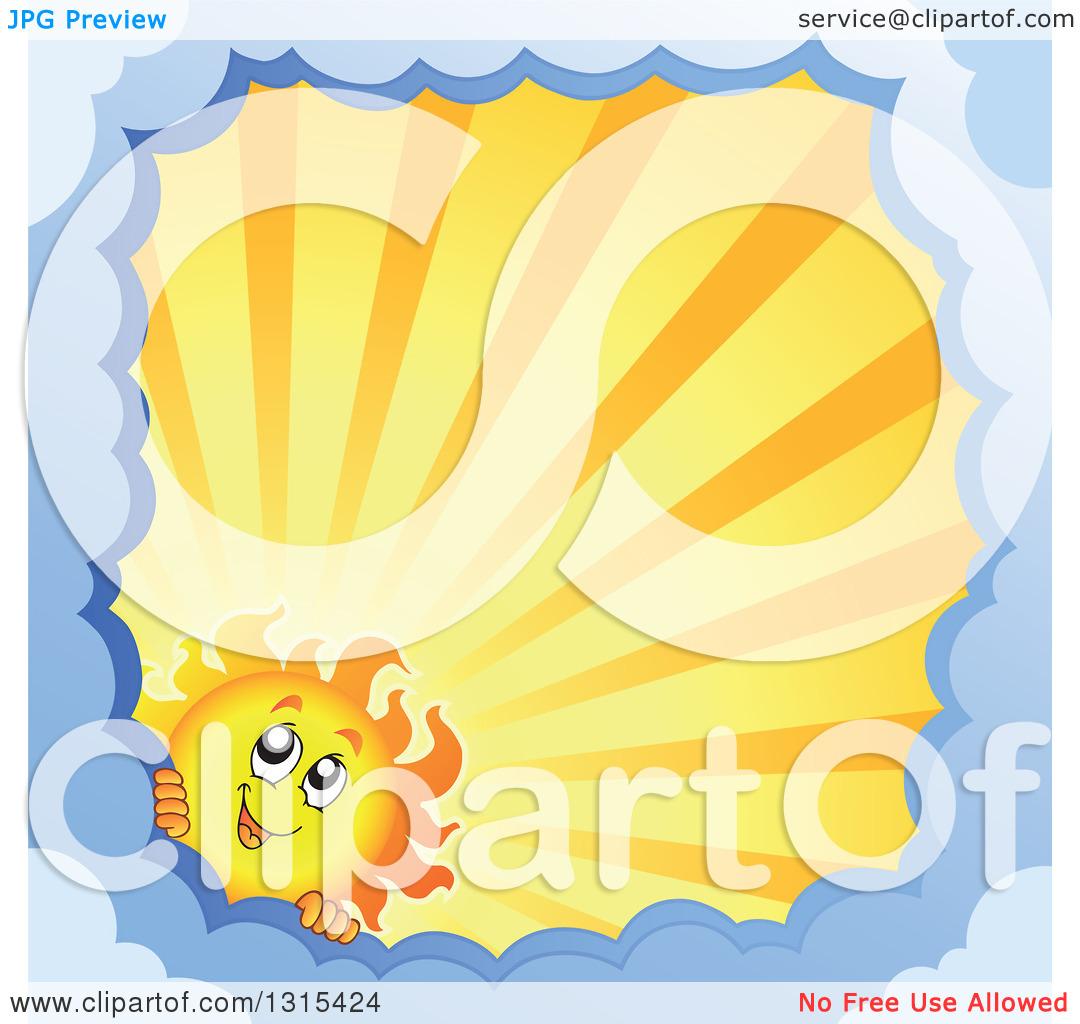 Clipart of a Cartoon Happy Sun Character Peeking Around a Border.
