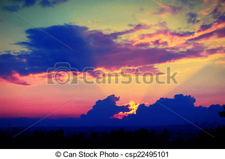 Vector Clipart of wonderful sunset with dark blue clouds, evening.