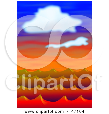 Clipart Illustration of Red Ocean Waves Under Clouds At Sunset by.