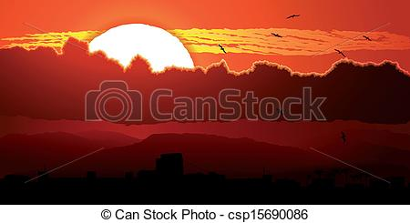 Vector of Flying birds in sunset in clouds..