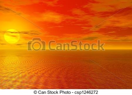 Clip Art of Bloody red sunset over ocean and cloudy sky 3D high.