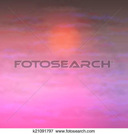 Clip Art of Sky Vector Clouds Sunset Background k21091797.
