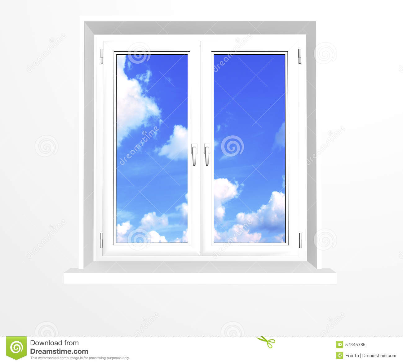 Closed Window And Clouds On Blue Sky Stock Illustration.