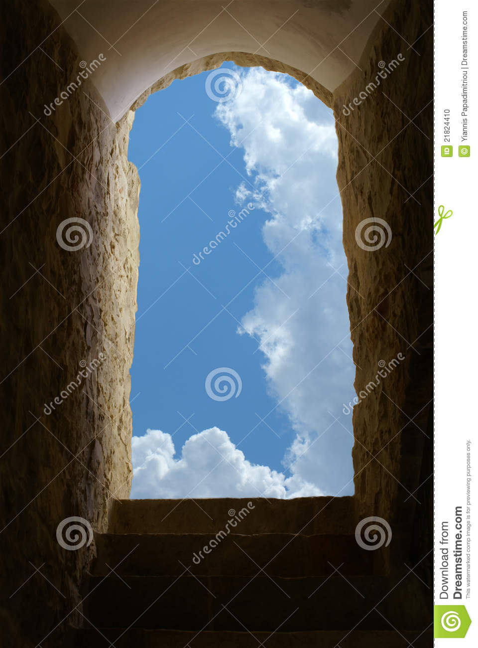 Blue Sky And Clouds Through An Old Venetian Window Stock Photo.