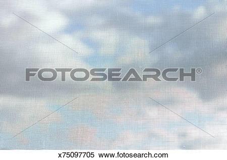 Stock Image of Clouds seen through window screen x75097705.