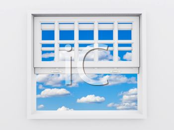 Royalty Free Clipart Image: Open Window with View of Sky and Clouds.