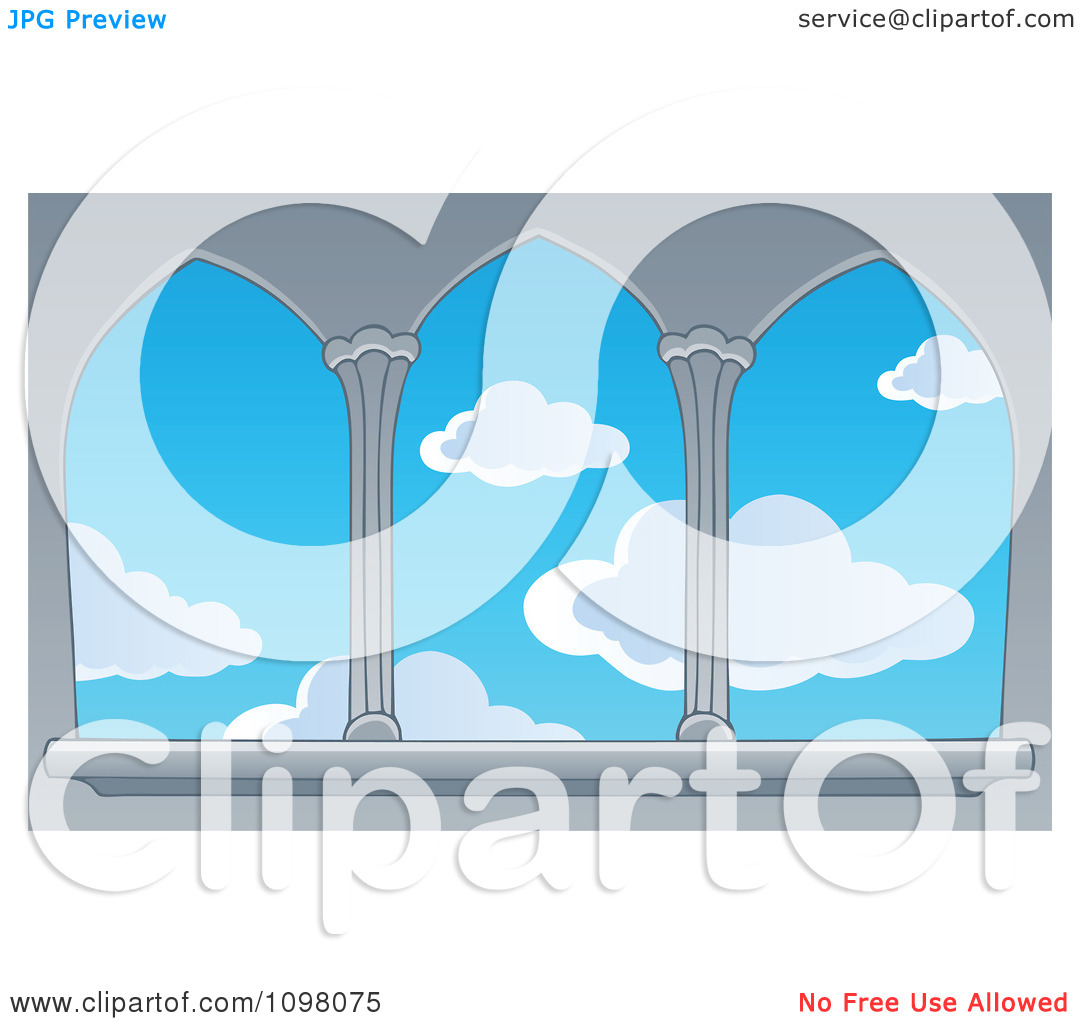 Clipart View Of A Blue Sky With Puffy Clouds Through Castle.