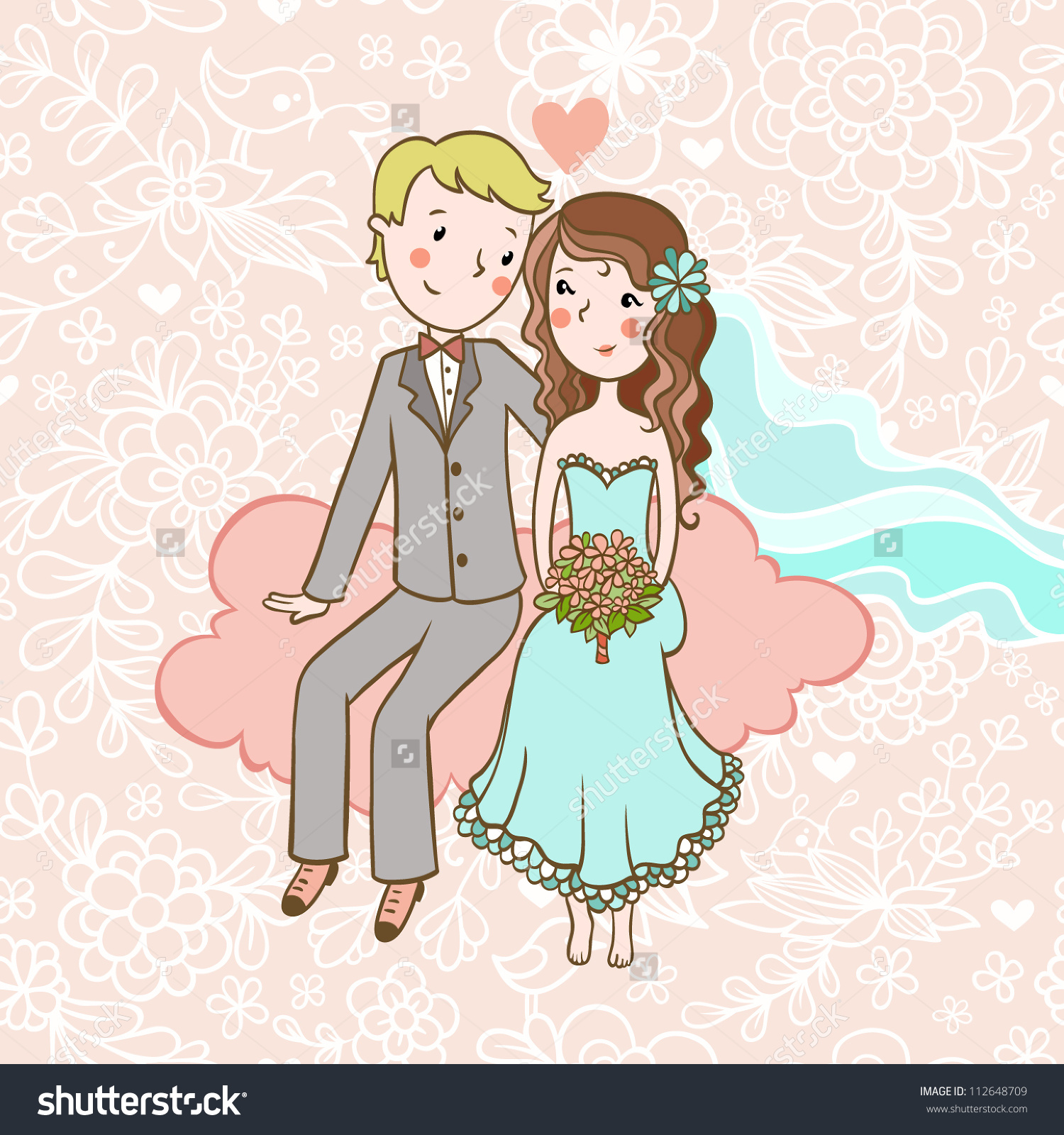 Vintage Wedding Invitation With A Boy And Girl Sitting On Clouds.