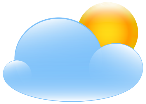 Partly Cloudy with Sun Weather Icon PNG Clip Art.